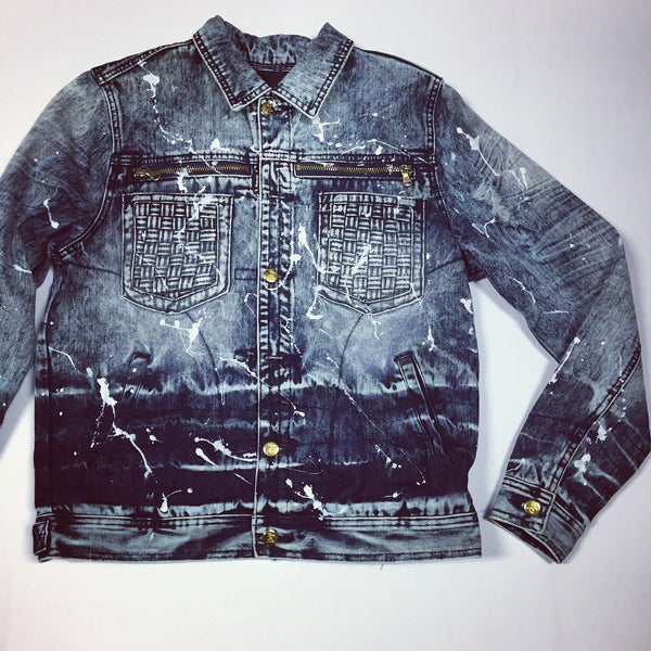 Denim Jacket With Paint Splatter Design - Blue