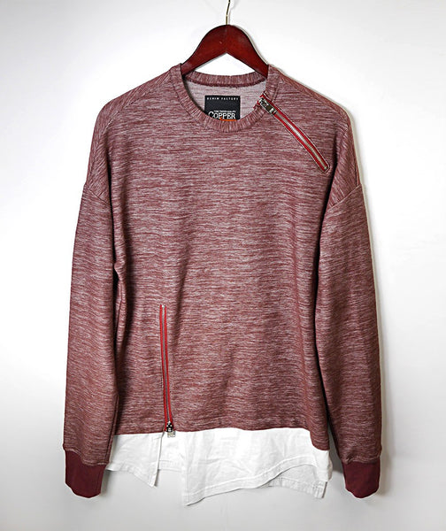 Double Layered Zipper Opening Crewneck - Burgundy