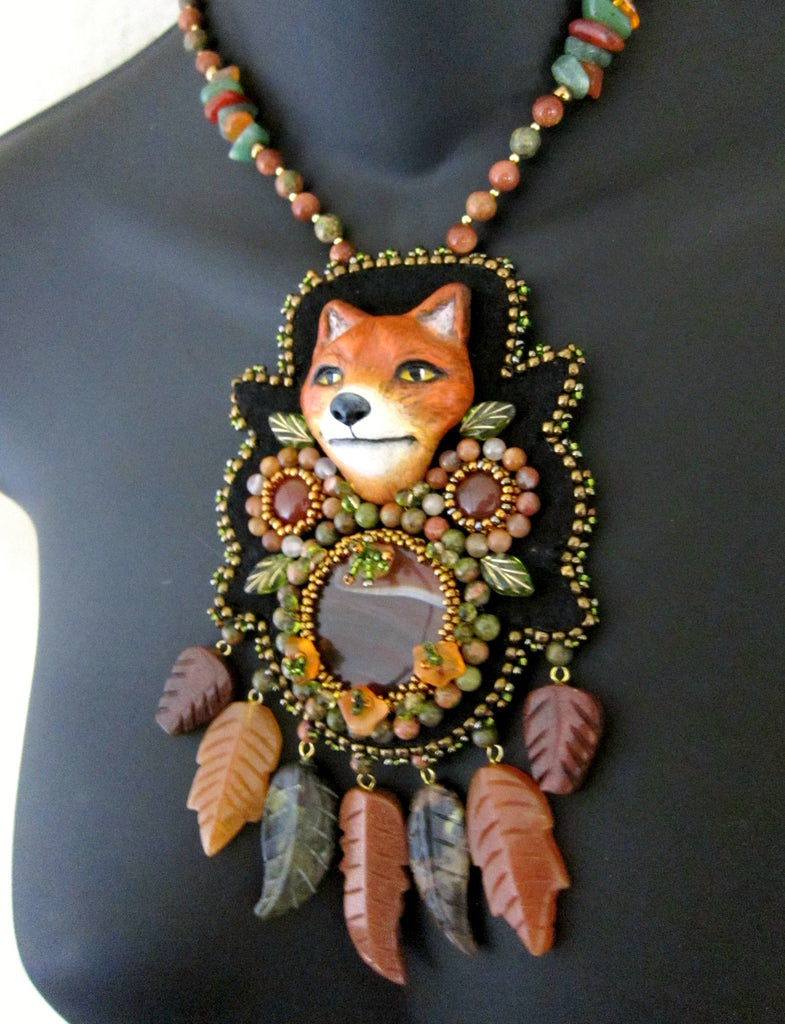 Woodland Fox Bead Embroidered Necklace by Susan Brackett Designs