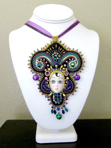 Mardi Gras Queen of the Ball Beaded Necklace by Susan Brackett Designs