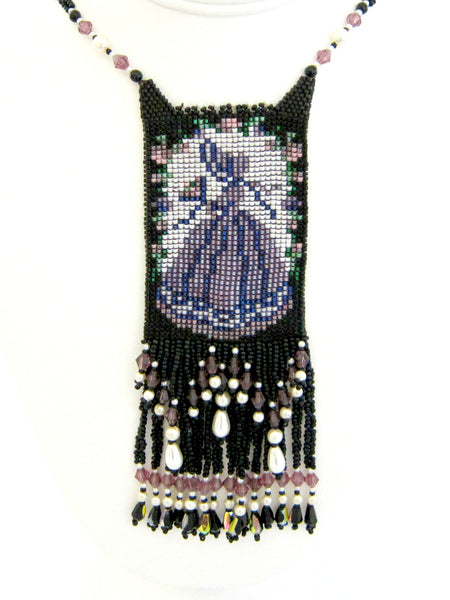 Victorian Woman Beaded Amulet Necklace by Susan Brackett Designs
