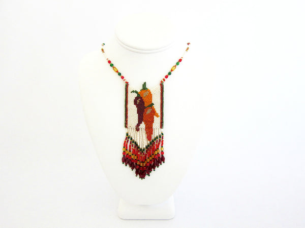 Chili Peppers Beaded Amulet Necklace by Susan Brackett Designs