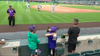 Erick Aybar played catch with some fans during a rain delay