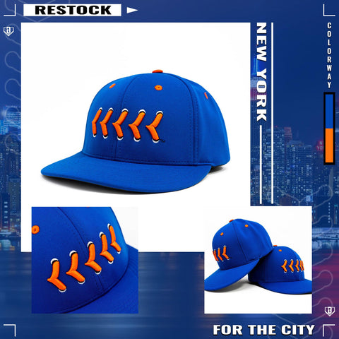 Blue Buzz the Tower Fitted Baseball Hat with Orange Raised Baseball Seams