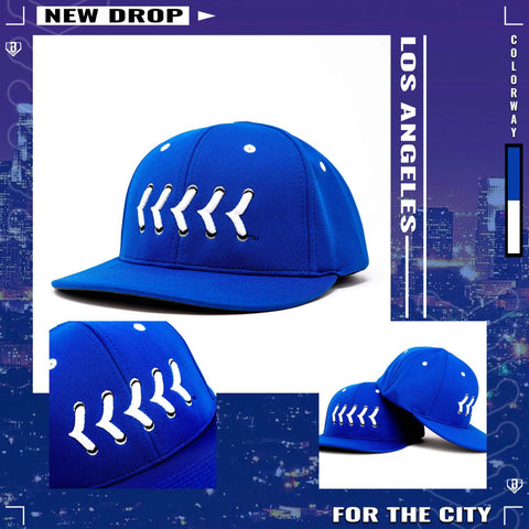 Blue Buzz the Tower Fitted Baseball Hat with White Raised Baseball Seams