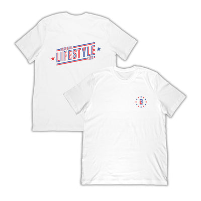 White t-shirt with red, white, and blue circle logo on front and Baseball Lifestyle on back