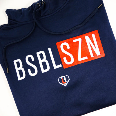 Close up of BSBL-SZN logo on front of navy short sleeve hoodie