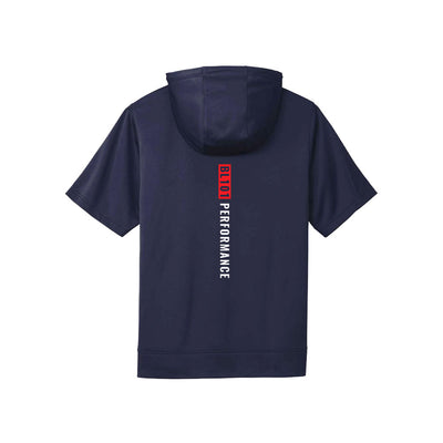 Navy short sleeve hoodie back view with BL101 Performance