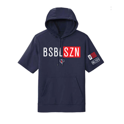Navy short sleeve youth hoodie with white and red BSBL-SZN logo on front