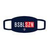 BSBL-SZN face mask on navy background
