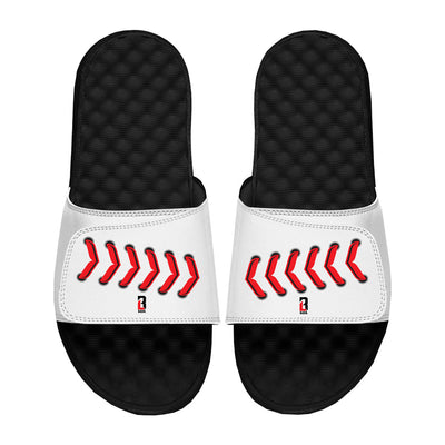 White slide sandals with red baseball stitching across velcro straps