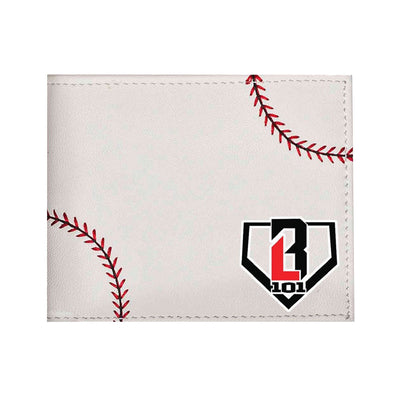 Front of white leather wallet with red stitching and BL101 logo
