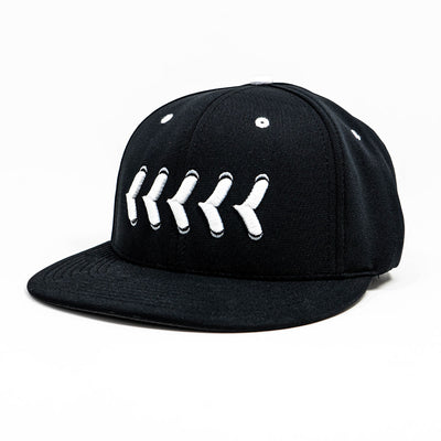 Front view of fitted black hat with white baseball stitching