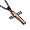 Black Stainless Stitched Bat Wood Inlay Cross Pendant and Chain