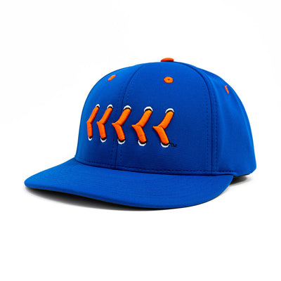Blue fitted hat with orange stitching