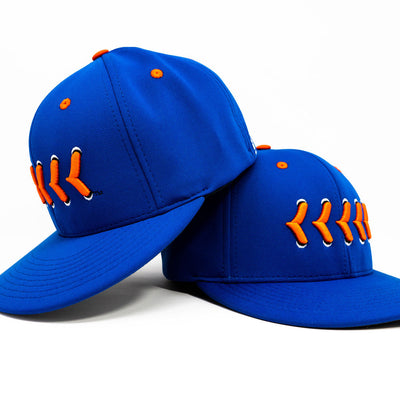 Blue fitted hat with orange stitching front and side view