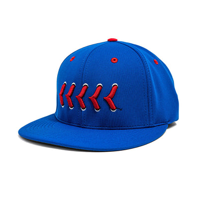 Blue fitted hat with red baseball stitching