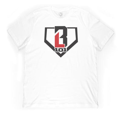White t-shirt with BL101 logo on front