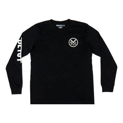 Black long sleeve shirt with BL101 hardline logo down sleeve and cross bat logo on chest