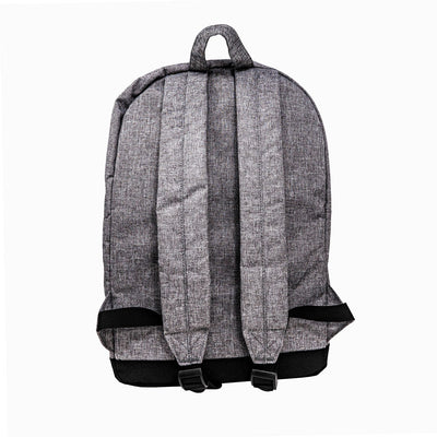 Back view of straps on heather grey backpack