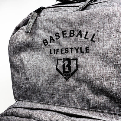 Closeup of Baseball Lifestyle graphic on front of heather grey Ghost baseball Backpack