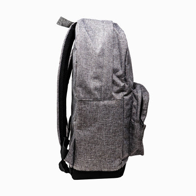 Side view of heather grey Ghost baseball backpack