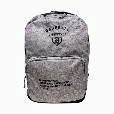 Heather grey backpack with front zipper compartment, Baseball Lifestyle graphics on front