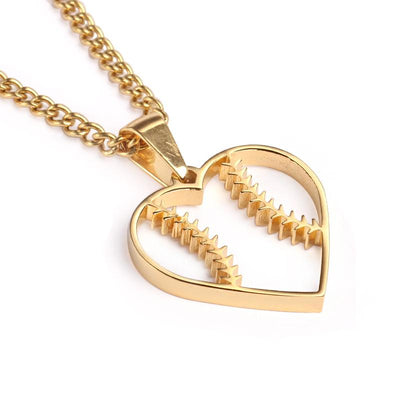 Golden Baseball Stitched Heart Pendant and Chain