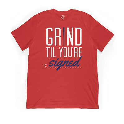 Red t-shirt with grind til you're signed written on it