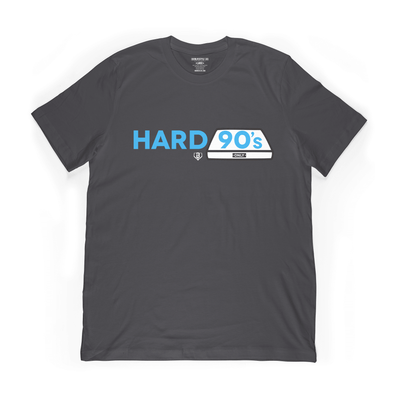 Dark gray t-shirt with light blue Hard 90s with a baseball base design on front