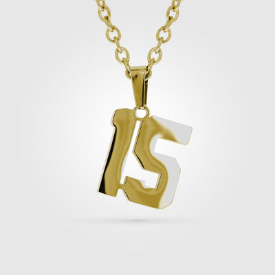 Gold stainless jersey number pendant and chain #15