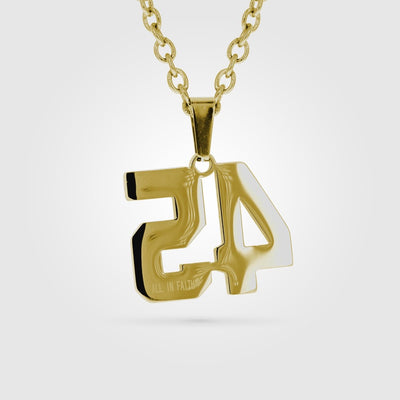 Gold Stainless Steel Jersey Number Pendant with Chain