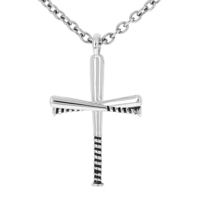 Bat Grip Baseball Bat Cross Pendant & Chain