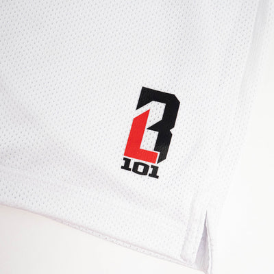 Closeup of BL101 on white shorts