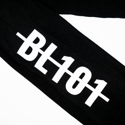 Close up of BL101 Hardline logo on sleeve
