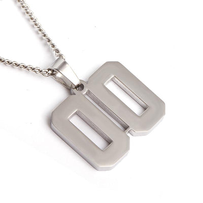 Polished Jersey Number Pendant with Chain Necklace