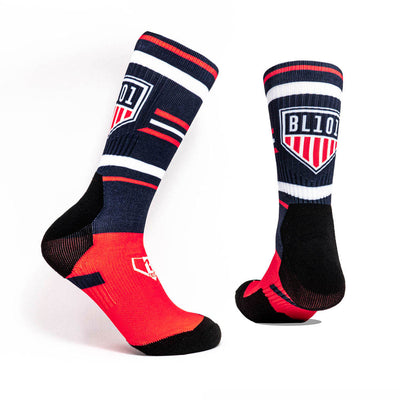Navy socks with red sole and BL101 USA Homeplate logo
