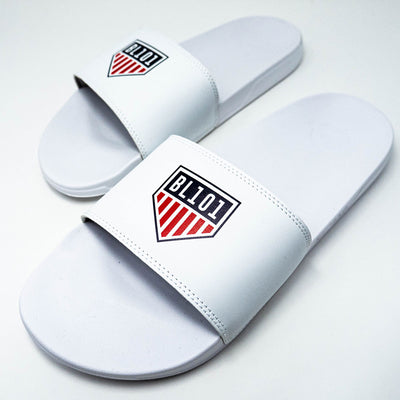 Side view of white slides with BL101 home plate flag logo across top