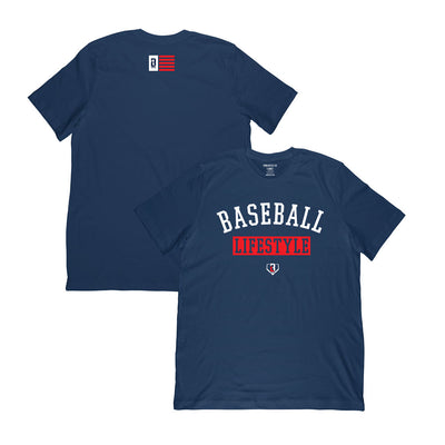 Front and back view of navy polyester t-shirt with Baseball Lifestyle graphic on front