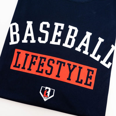 Close up of Baseball Lifestyle graphic on navy t-shirt