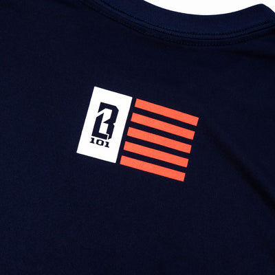 Close up of American flag logo on back