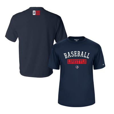 Front and back view of navy youth performance t-shirt with Baseball Lifestyle graphic on front