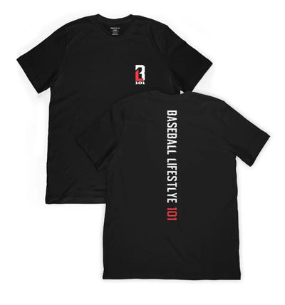 Black t-shirt with BL101 logo on front and Baseball Lifestyle written on spine