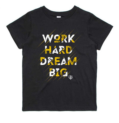 Work Hard Dream Big black youth t-shirt