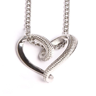Stainless Baseball Stitched Infinity Heart Pendant and Chain