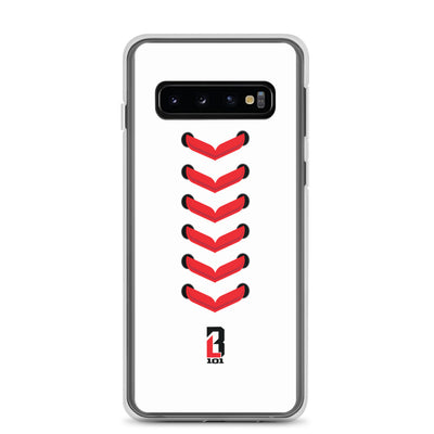 White Samsung Case with Red Baseball Seams