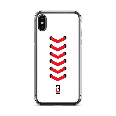 White iPhone Case with Red Baseball Seams