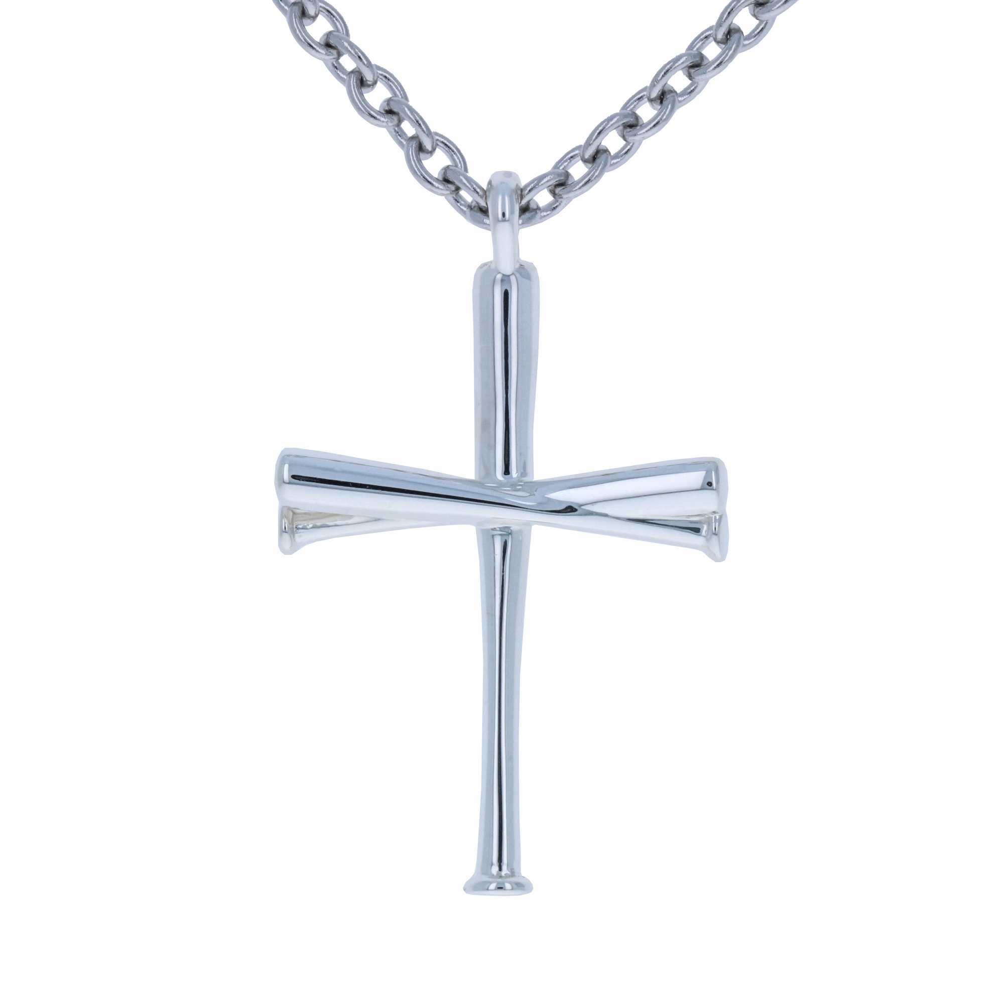 link men baseball sterling and stainless pendant s necklace chain mens curb cross steel silver plated rhodium com walmart ip