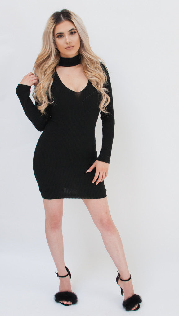 Barb Black Sweater Dress