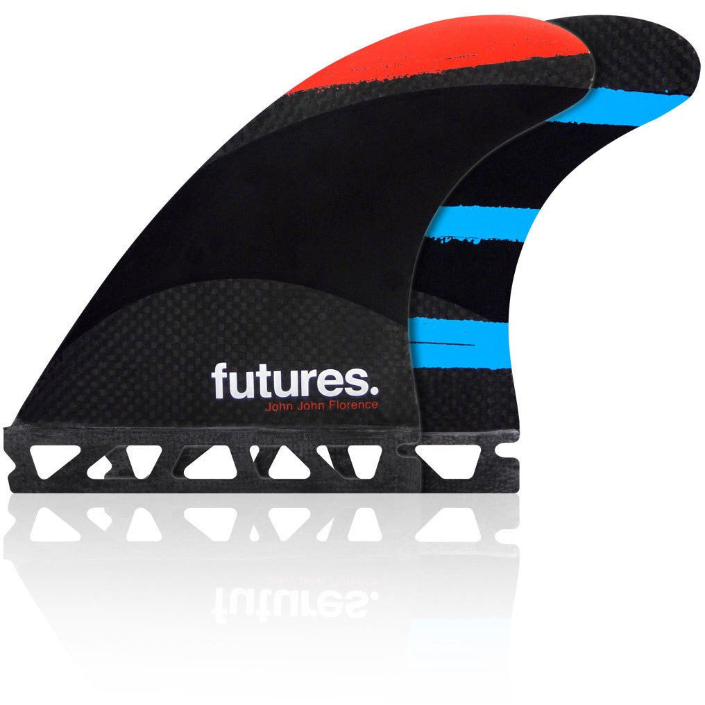 FUTURES JOHN JOHN SMALL TECHFLEX RED/ORANGE/TEAL TRI FIN SET